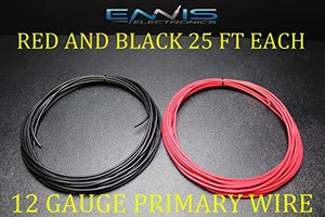 12 Gauge Wire Ennis Electronics 25 Ft Red 25 Ft Black Primary Remote Hook Up Awg Copper Clad
