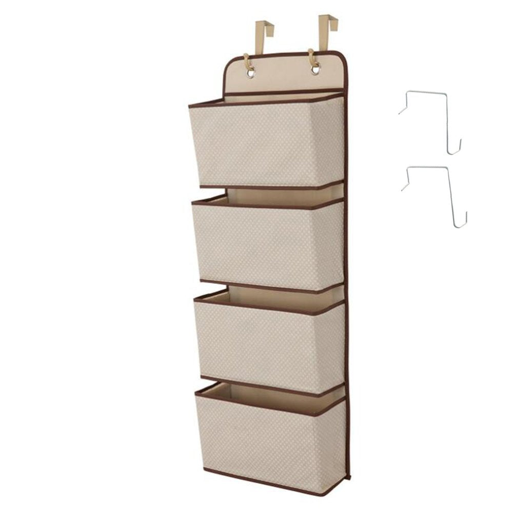 Dreamsy Hanging Closet Organizer, 4-Pockets Wall Mount/Over Door Storage for Toys, Purses, Keys, Sunglasses - Beige