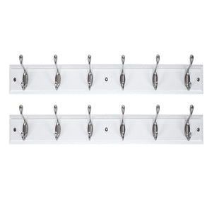 DOKEHOM DKH0116NWMX2 2 Set 6-Satin Nickel Hooks -(4 Colors, Available 4 and 6 Hooks)- on White Wooden Board Coat Rack Hanger, Mail Box Packing