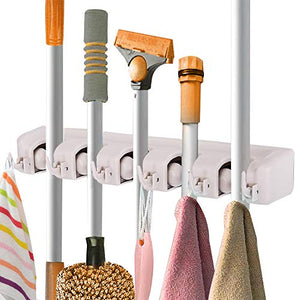 Toolsempire Broom and Mop Holder Wall Mounted Garden Tool Rack Garage Storage Organizer Rack 5 Position with 6 Hooks