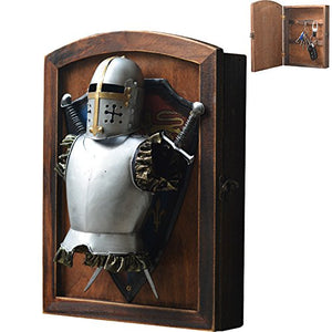 Creation Core Vintage Wood Wall Mounted Key Holder Box with 6 Hooks Rustic Entryway Organizer Metal Medieval Knight Armor Decoration