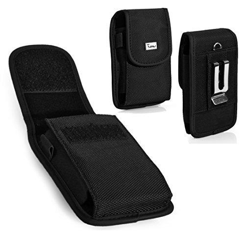 #1 TMAN Rugged Canvas Hook&Loop Closure Vertical Medium Belt Clip Case Pouch Holster for BlackBerry Torch 9810 Torch 2 Curve 9350 Sedona Bold 9790 Onyx III [PERFECT FITS WITH SILICONE CASE ON IT]