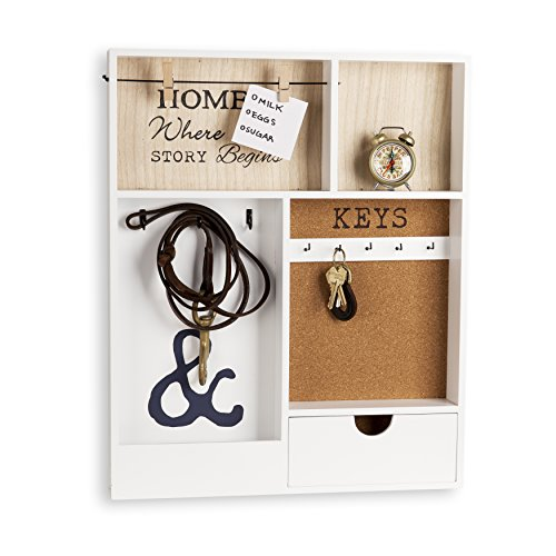 Danya B. KS19053WH Entryway Key/Mail Holder Wall Organizer with Key Hooks and Clothespin Picture Hanger
