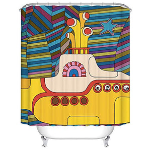BARTORI Home Decor Shower Curtain Hooks Inside Cartoon Submarine with Multicolor Colorful Background Waterproof Polyester Fabric Bath Curtain with Size 71''X71''