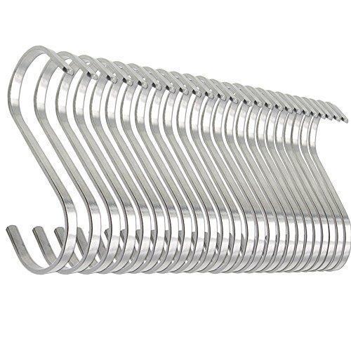 24 Pack ESFUN 4.4 inch Large 304 Stainless Steel S Hooks for Hanging Indoor and Outdoor Rustproof