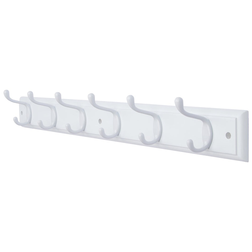 DOKEHOM 6-White Hooks -(4 Colors, Available 4 and 6 Hooks)- on White Wooden Board Coat Rack Hanger, Mail Box Packing