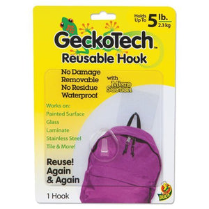 Duck. GeckoTech Reusable Hooks, Plastic, 5 lb Capacity, Clear, 1 Hook (282314)