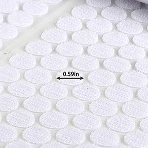 1120 Pieces (Pack of 560) 0.59in Diameter Sticky Back Coins Strong Self Adhesive Dots Hook and Loop Fasteners Topisun Brand
