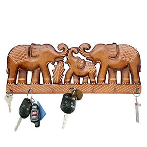 WILLART Handicraft Wooden Wall Décor Wall Hanging Elephant Design Key Holder Home Décor Home Furnishing (Key Holder Hooks : 7) : Dimension - 15.5 Inch X 6 Inch X 0.75 Inch