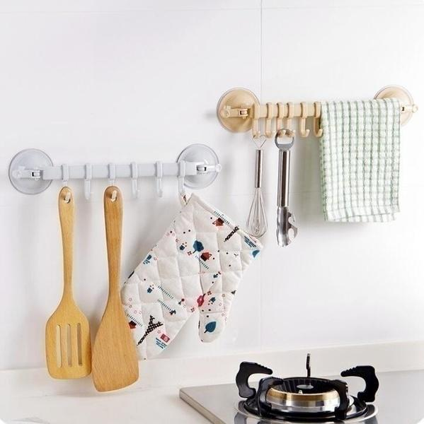 Bathroom Suction Cup Hanger With 6 Pcs Hooks Mutifunction Vacuum Rack Kitchen Wall Sucking Hanger