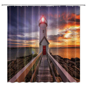 AMNYSF Lighthouse Shower Curtain Sea Coast Wooden Bridge Tower Fantasy Sky Sunset Scenery Decor Fabric Bathroom Curtains,70x70 Inch Waterproof Polyester with Hooks