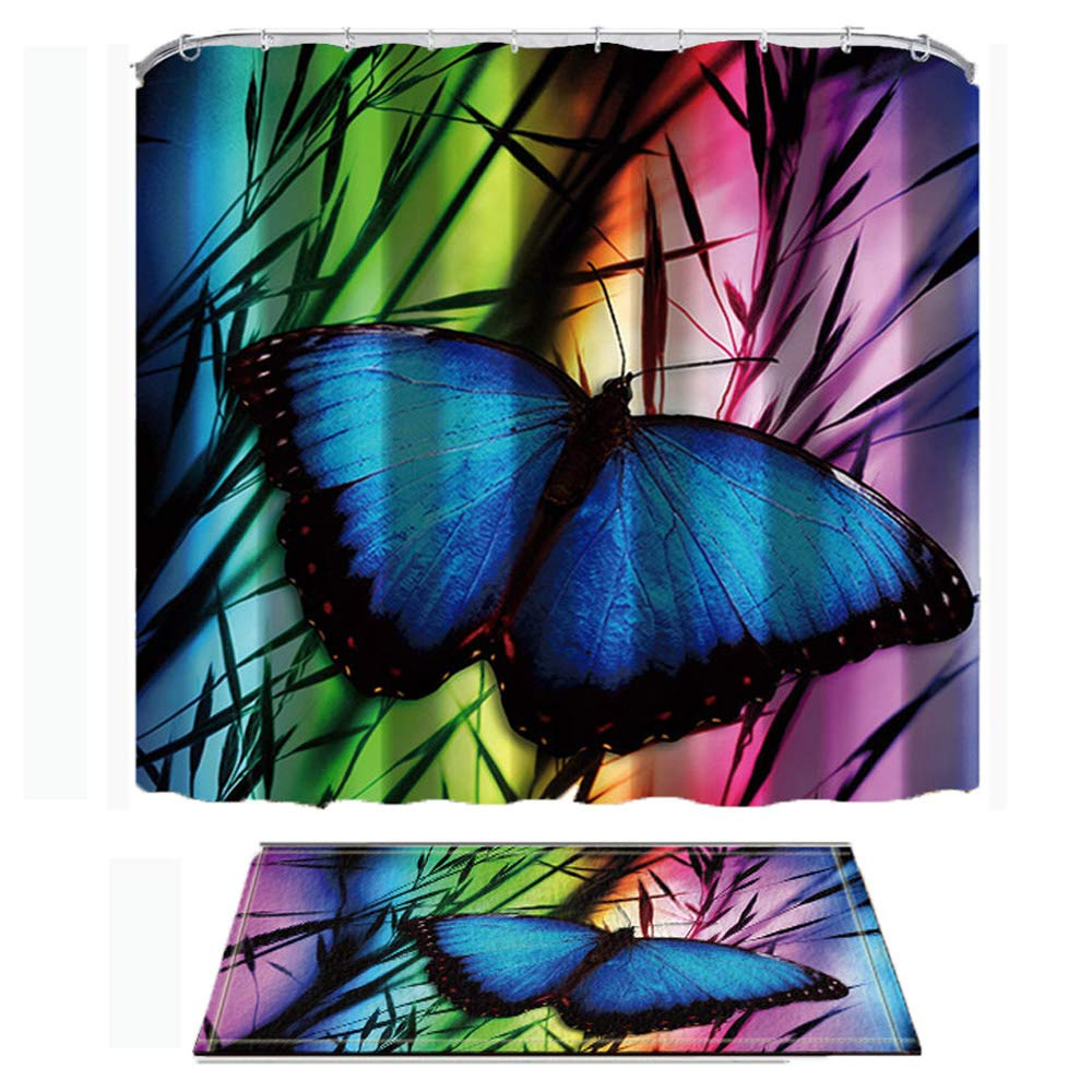 ChuaMi Nature Animal Shower Curtain Set, Dark Blue Butterfly, Watercolor Art Black Bamboo, Bathroom Decor Polyester Fabric 69 x 70 Inches with Hooks and Anti-Slip 40 x 60cm Bath Rug, Pink and Green