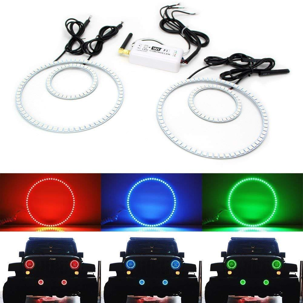 7-Color RGB LED Angel Eye Halo Rings For 2007-up Jeep Wrangler JK Headlight and Fog Lamps Retrofit with Smart Phone WIFI Remote Control