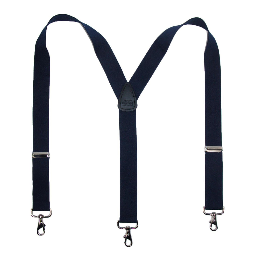 CTM® Mens Elastic Solid Color Suspender with Metal Swivel Hook Clip End, Navy