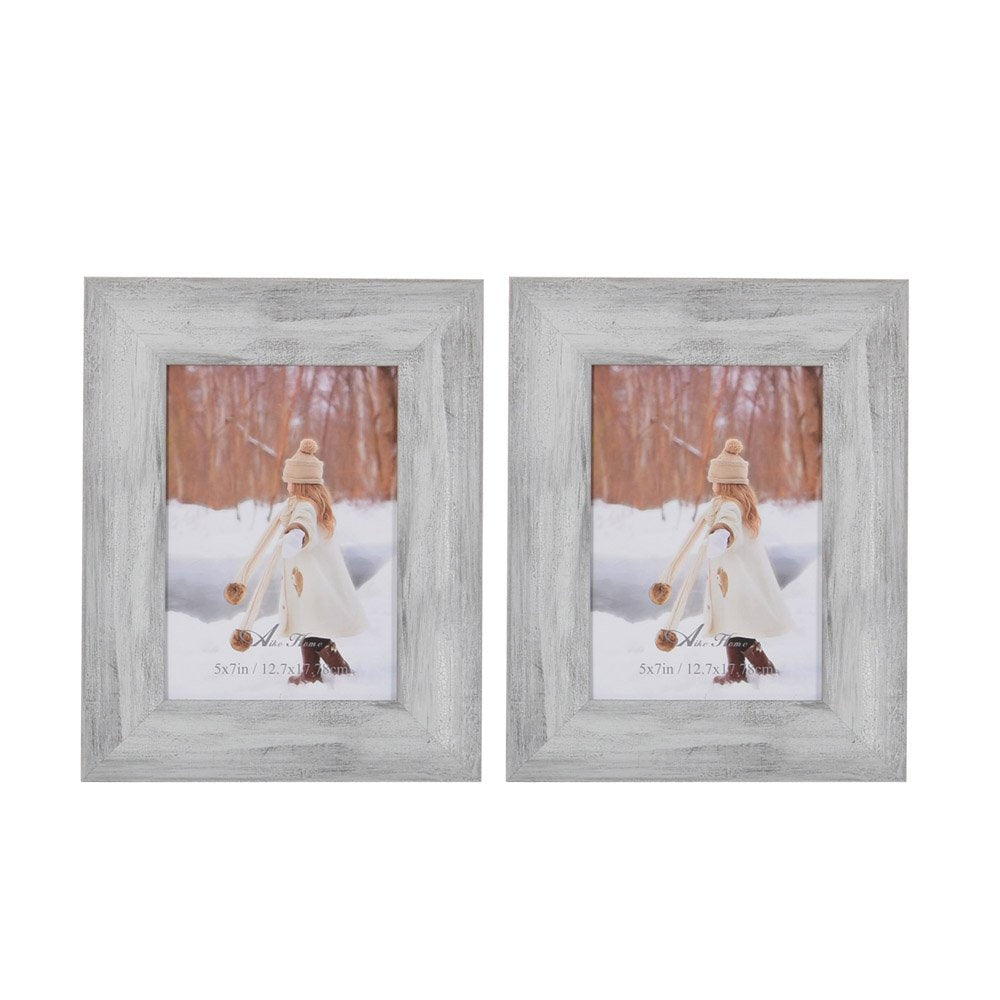 Aike Home Photo Picture Frame 5x7 Inch White Wash Wall Mount Hangers Real Glass and Table Top with Easel Wall Display Horizontally or Vertically 2 Pack