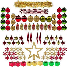 Christmas Tree Assortment ITART Ornaments Kits including Tree Topper,Christmas Balls,Snowflakes,Pine Cones,Finial Drops,Miniature Gift Boxes,Tinsel and Beads Garlands for Xmas Decorations