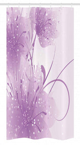 Ambesonne Purple Stall Shower Curtain, Abstract Art Style Vector Illustration of Flower Background with Butterfly, Fabric Bathroom Decor Set with Hooks, 36 W x 72 L Inches, Violet and White