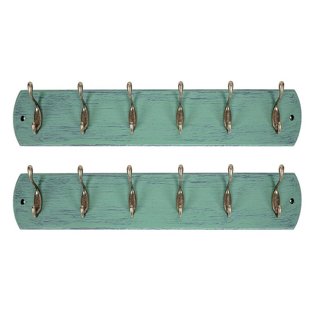 DOKEHOM DKH0166DBX2 2 Set 6-Antique Brass Hooks on Natural Pine Wooden Coat Rack Hanger, Mail Box Packing (Mediterranean Blue)