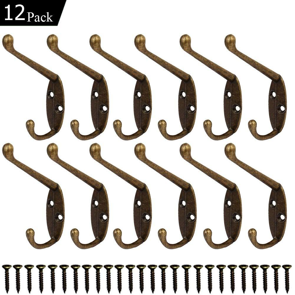 12 Pack Heavy Duty Coat Hooks Wall Mounted Hardware Dual Prong Retro Rustic Dual Hooks for Hats, Coats, Clothes, Towels, Bag, Key Hanger (Retro Bronze)