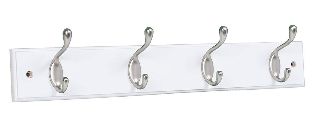 BirdRock Home Oval Hook Coat and Hat Rack | 4 Hooks | White Finish | Satin Nickel Hooks