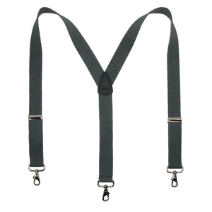 CTM® Mens Elastic Solid Color Suspender with Metal Swivel Hook Clip End, Dark Grey