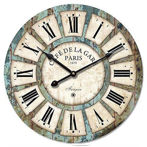 16-In Vintage Roman Numeral Design Wood Clock - Eruner France Paris *Caf De La Gare* Colourful French Paris Tuscan Style Non-Ticking Quartz Movement Wooden Wall Clock Cafe Bar(16 , #03)
