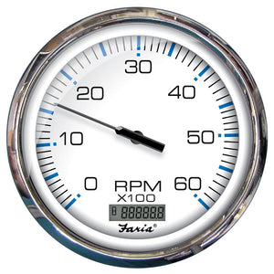 "Faria 5"" Tachometer W-Digital Hourmeter (6000 RPM) GAS (INBOARD) CHESAPEAKE WHITE W-STAINLESS STEEL BEZEL - Bulk PACKAGE"