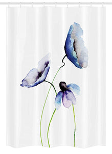 Ambesonne Watercolor Flower Stall Shower Curtain, Abstract Poppies Blossoms Simple Artistic Composition Picture, Fabric Bathroom Decor Set with Hooks, 54 W x 78 L Inches, Lavender Blue Green