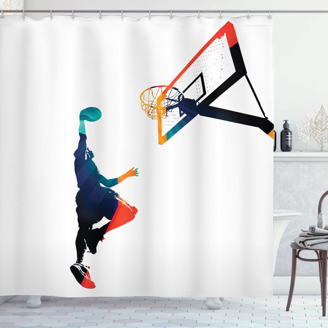 Ambesonne Sports Decor Collection, High Contrast Silhouette Artwork of an Athlete Slam Dunking a Basketball Image, Polyester Fabric Bathroom Shower Curtain Set with Hooks, Teal Blue Orange Red