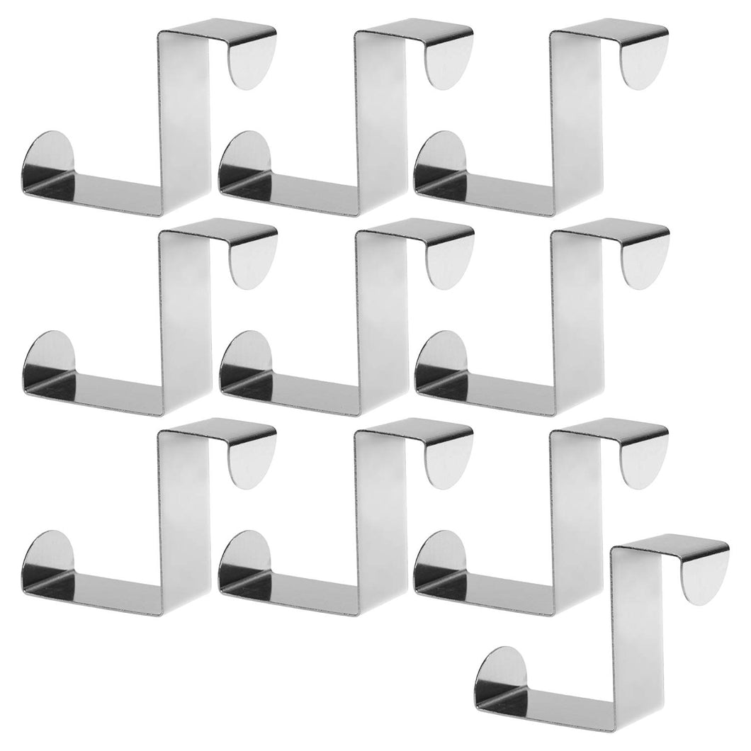 Beautyflier Pack of 10 Stainless Steel Z Shape Over Door Back Hanger Reversible Utility Hook for Clothes Scarves Towels Keys Hats Bathroom Kitchen Organizer Rack