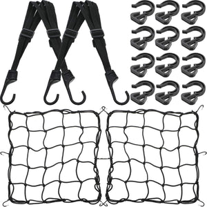 2 Pieces Helmet Luggage Strap Bungee Cord 2 Pieces 15 x 15 Inch Elastic Motorcycle Bicycle Cargo Nets 2 x 2 Inch Mesh with 12 Pieces Adjustable Plastic Hooks