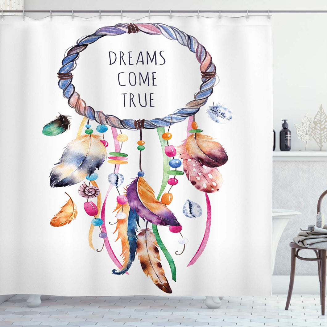 Ambesonne Feather Shower Curtain, Dream Catcher Illustration Bohemian Style Image, Cloth Fabric Bathroom Decor Set with Hooks, 70