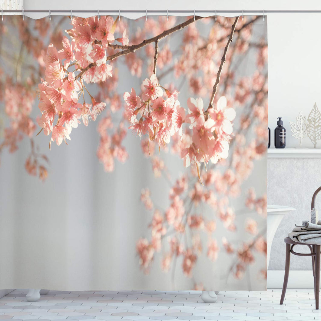 Ambesonne Peach Shower Curtain, Japanese Scenery Sakura Tree Cherry Blossom Nature Photography Coming of Spring, Cloth Fabric Bathroom Decor Set with Hooks, 84