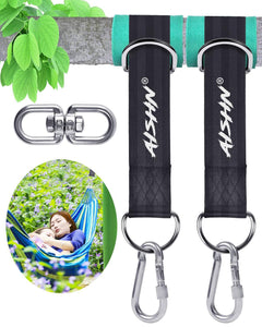 AISHN Tree Swing Straps Hanging Kit, Adjustable Hammock Straps(Set of 2), 2200Lbs Break Strength. 5ft Long with Tree Protector Sleeves, Swivel Strong Stainless Hook, Rustproof Screw Lock Carabiners Black 5ft