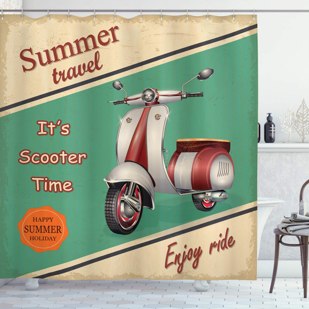 Ambesonne Vintage Shower Curtain, Scooter Motorbike Summer Travel Italian City Sight Hipster Enjoy Ride Illustration, Cloth Fabric Bathroom Decor Set with Hooks, 70