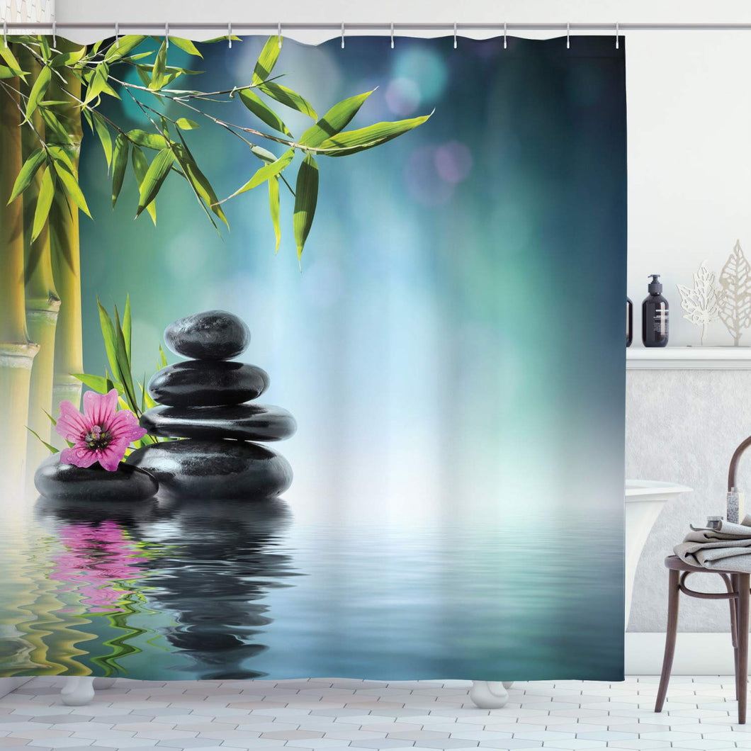 Ambesonne Spa Shower Curtain, Tower Stone and Hibiscus with Bamboo on The Water Blurry Background, Cloth Fabric Bathroom Decor Set with Hooks, 75