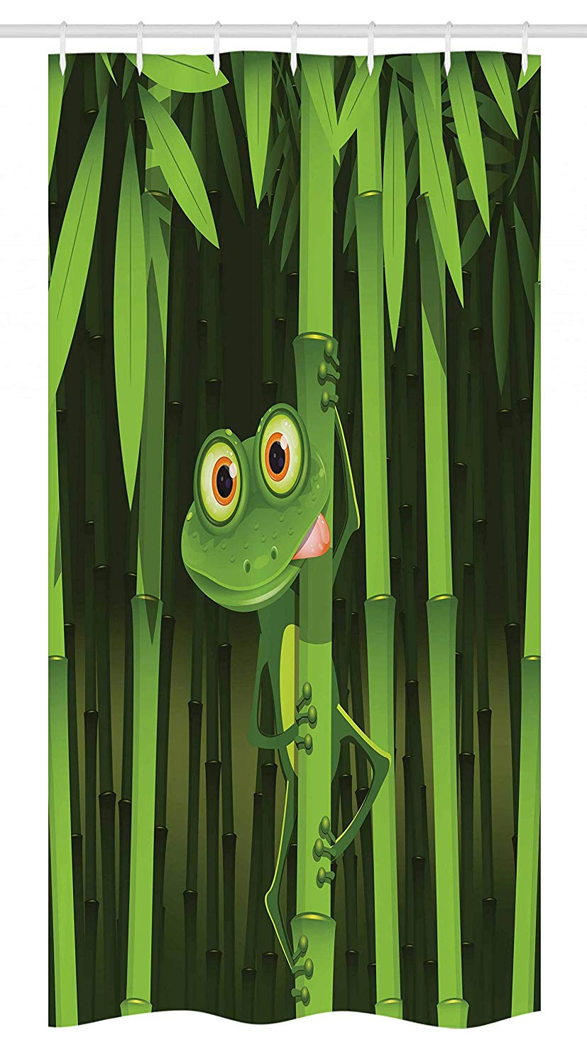 Ambesonne Animal Stall Shower Curtain, Funny Illustration of Friendly Fun Frog on Stem of The Bamboo Jungle Trees Nature, Fabric Bathroom Decor Set with Hooks, 36