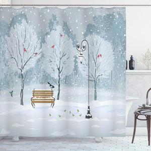 "Ambesonne Christmas Shower Curtain, Snow Falling in The Park on a Cold Winter Day Birds Lanterns Xmas Season Picture, Cloth Fabric Bathroom Decor Set with Hooks, 70"" Long, Blue White"