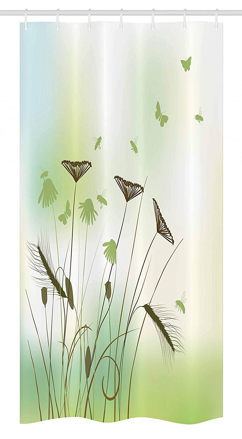 Ambesonne Butterfly Stall Shower Curtain, Silhouette of Dragonflies Bees Butterflies Flying All over the Flowers Spring Theme, Fabric Bathroom Decor Set with Hooks, 36 W x 72 L Inches, Green