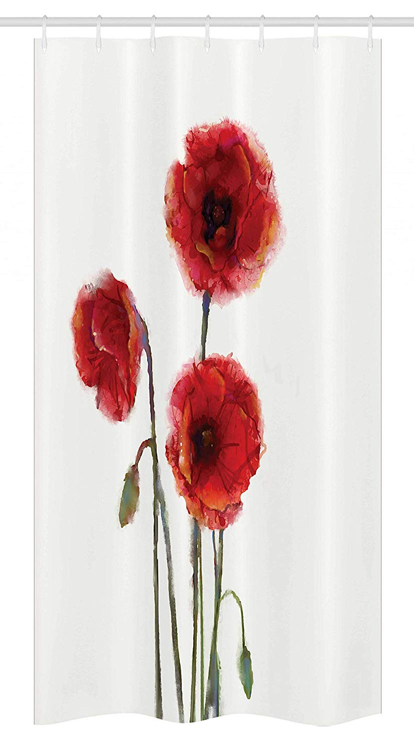 Ambesonne Watercolor Flower Stall Shower Curtain, Poppy Flowers Spring Blossoms with Watercolor Painting Effect, Fabric Bathroom Decor Set with Hooks, 36 W x 72 L Inches, White Red Sage Green