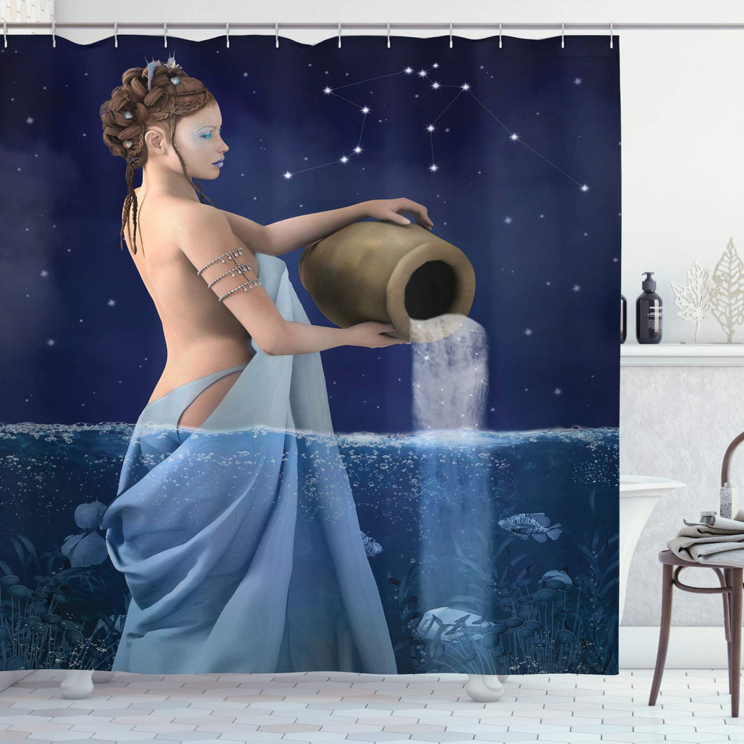 Ambesonne Astrology Shower Curtain, Aquarius Lady with Pail in The Sea Water Signs Saturn Mystry at Night Stars, Cloth Fabric Bathroom Decor Set with Hooks, 75