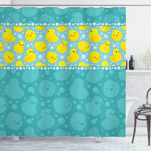 "Ambesonne Rubber Duck Shower Curtain, Yellow Cartoon Duckies Swimming in Water Pattern with Fun Bubbles Aqua Colors, Cloth Fabric Bathroom Decor Set with Hooks, 70"" Long, Teal Yellow"