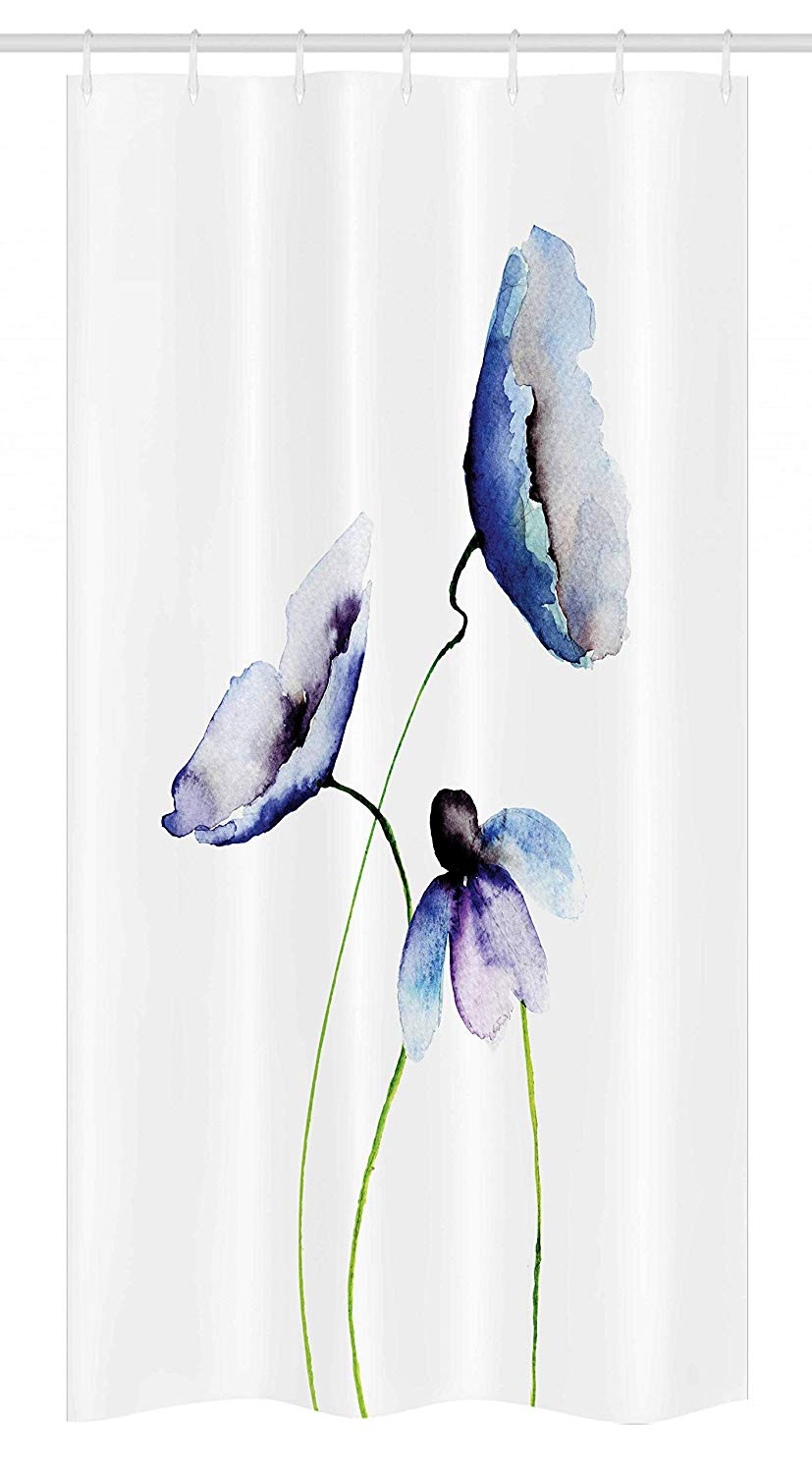 Ambesonne Watercolor Flower Stall Shower Curtain, Abstract Poppies Blossoms Simple Artistic Composition Picture, Fabric Bathroom Decor Set with Hooks, 36 W x 72 L Inches, Lavender Blue Green