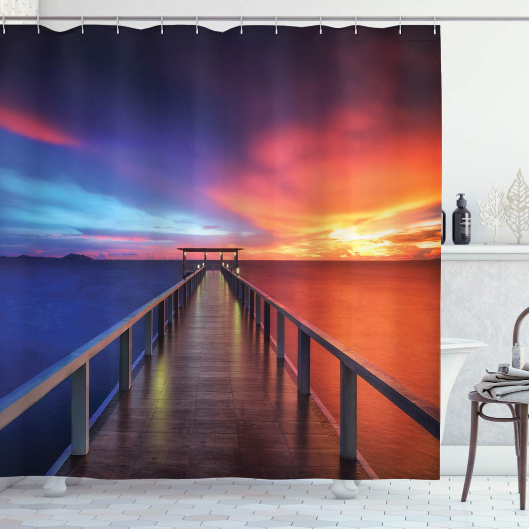 Ambesonne Giclee Bathroom Art Decor Collection, Beach Theme Seascapes Sunset Bridge Painting Pictures Phuket Lagoon, Polyester Fabric Bathroom Shower Curtain Set with Hooks, Blue Red Orange Brown