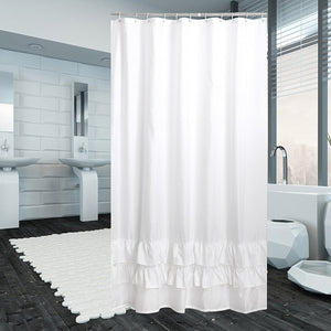 Avershine Ruffle Polyester Fabric Shower Curtain with Hooks, 72x80-White
