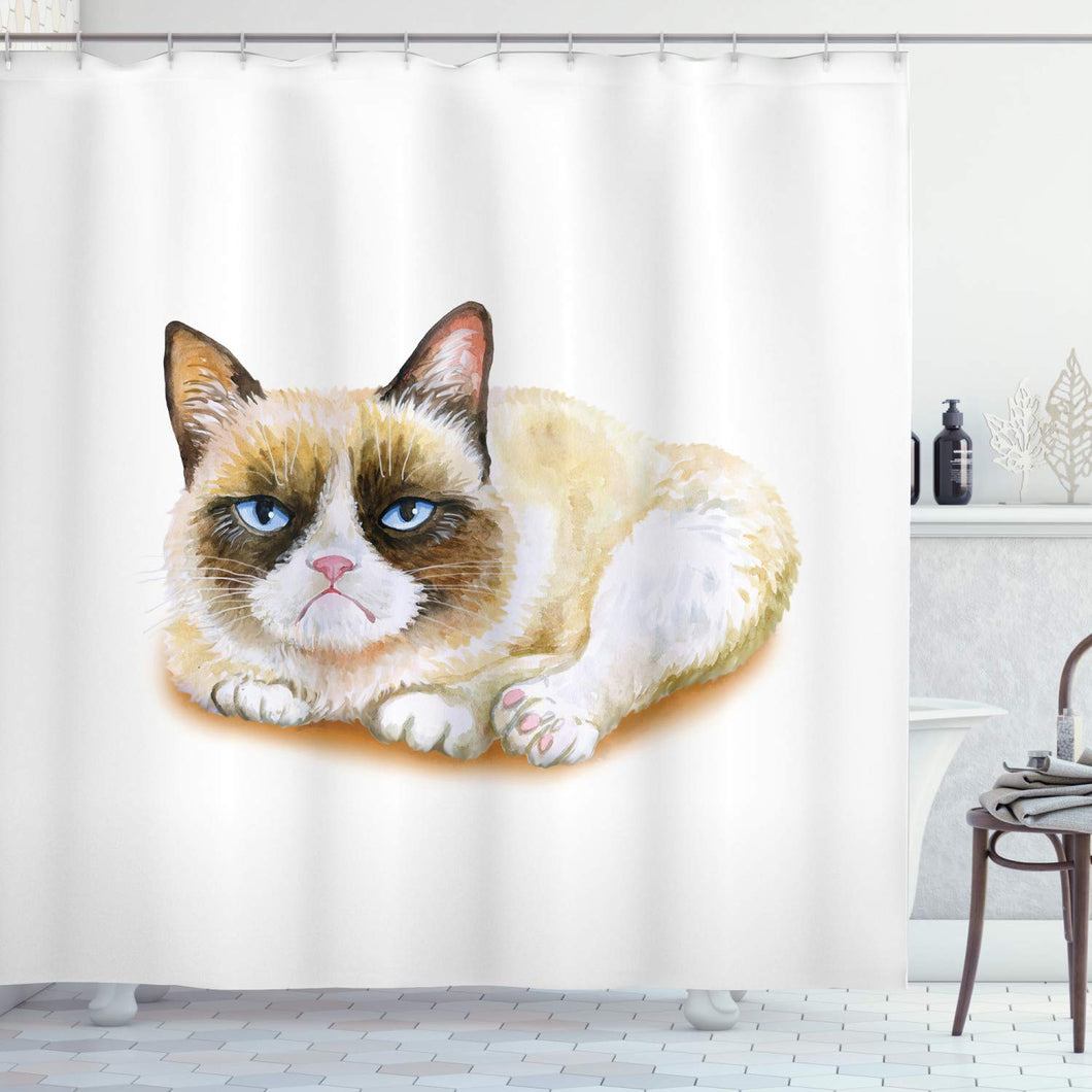 Ambesonne Animal Shower Curtain, Grumpy Siamese Cat Angry Paws Asian Kitten Moody Feline Fluffy Love Art Print, Fabric Bathroom Decor Set with Hooks, 84 Inches Extra Long, Brown and Beige