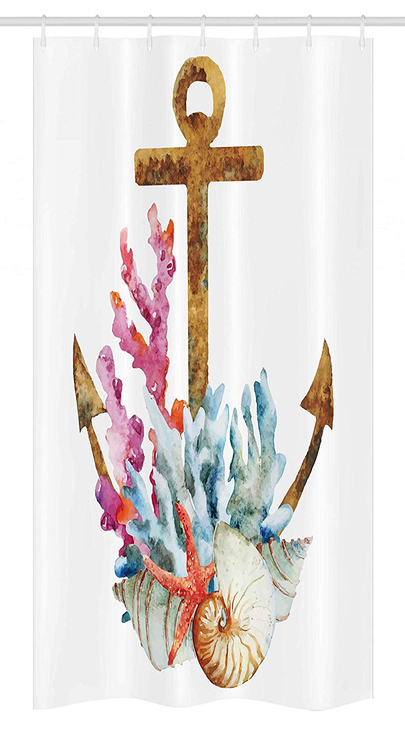 Ambesonne Anchor Stall Shower Curtain, Anchor with Corals Seaweed Nature Deep Sea Underwater Life Diving Enjoyment, Fabric Bathroom Decor Set with Hooks, 36