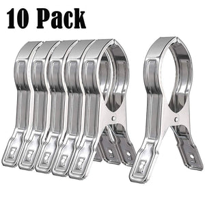 10PCS Stainless Steel Beach Bath Towel Clips Hooks Holder for Beach Chair or Pool Loungers on Your Cruise - Keep Your Towel From Blowing Away (4.7inch)