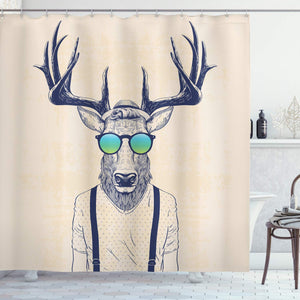 Ambesonne Antlers Decor Shower Curtain, Illustration of Deer Dressed Up Like Cool Hipster Fashion Creative Fun Animal Art Print, Polyester Fabric Bathroom Shower Curtain Set with Hooks, Beige Black
