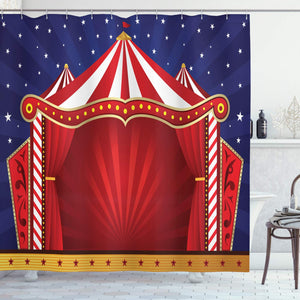 Ambesonne Circus Decor Collection, Canvas Tent Circus Stage Performing Theater Jokes Clown Cheerful Night Theme Print, Polyester Fabric Bathroom Shower Curtain Set with Hooks, Navy Blue Red